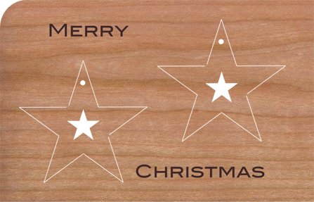 holz weihnachtskarte mit anh nger sterne nachhaltige. Black Bedroom Furniture Sets. Home Design Ideas