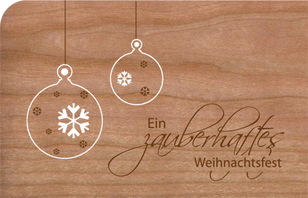 Holz Weihnachtskarten.Holz Weihnachtskarte Mit Anhänger Zauberhafte Kugeln
