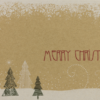 Weihnachtskarte aus Kraftpapier Tannen im Schnee