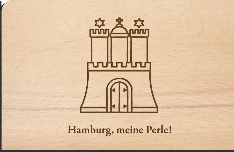 Holzpostkarte Hamburg meine Perle