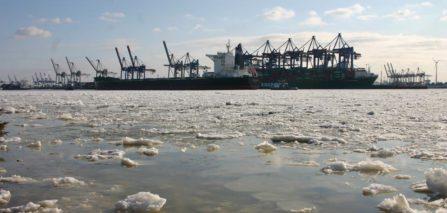 Hafenkraene Hamburg im Winter