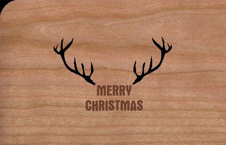 Holzkarte mit Hirschgeweih