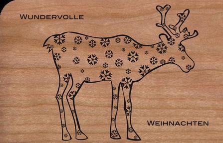 Holzkarte Rentier mit Schneeflocken