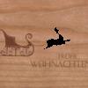 Holzkarte Schlitten mit Rentier