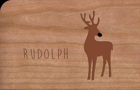 Holzkarte mit Rudolph Rentier