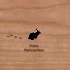 Holzkarte mit Schneehase