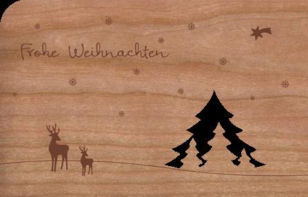 Holzkarte mit Tannenwald und Rehen
