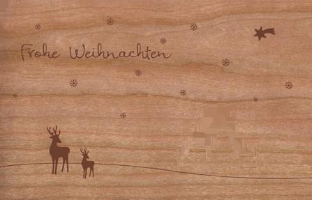Holz Weihnachtskarten.Holz Weihnachtskarte Tannenwald