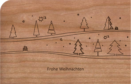 Holzkarte mit Winterwald