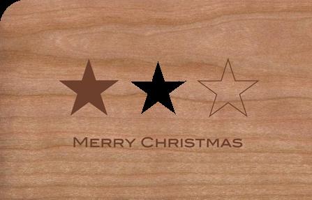 Holzkarte mit Sternen