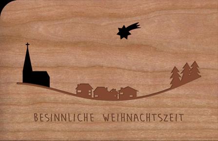 Holzkarte mit Kirche