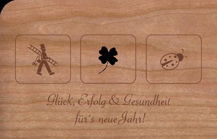 Holzkarte Neujahr