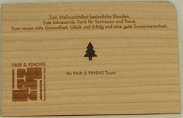 Holz-Weihnachtskarte Referenz