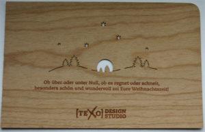 Holz-Weihnachtskarte mit Text
