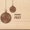 Holzpostkarte Weihnachtskugeln