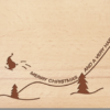 Holzpostkarte Weihnachtsmann Ski