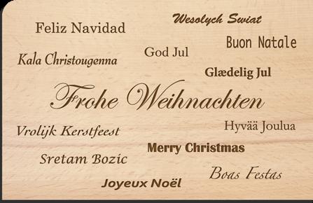 Holzpostkarte Weihnachten Sprachen