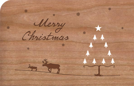 Weihnachtskarte aus Holz Merry Christmas