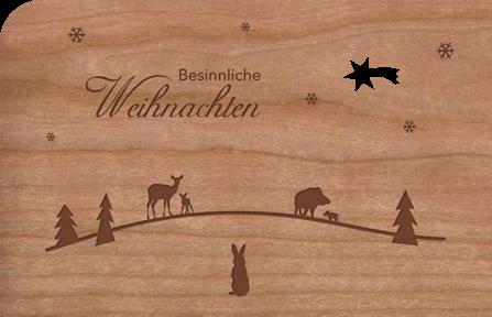 Weihnachtskarte Holz Tiere