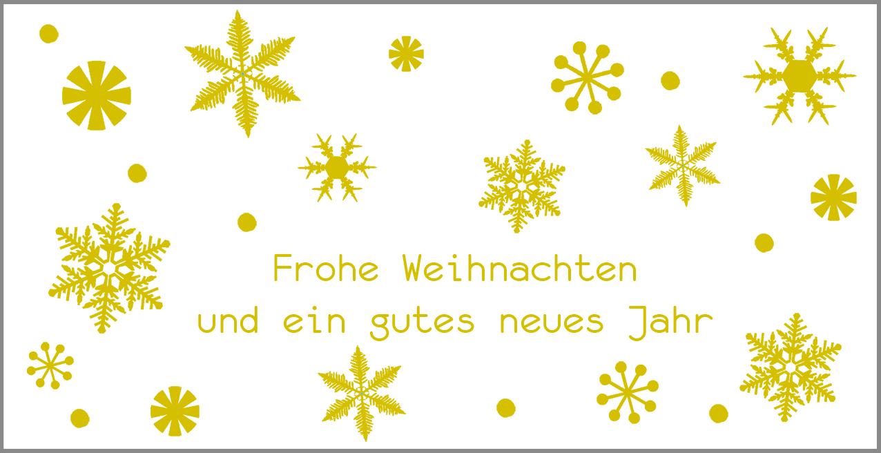 Weihnachtskarte Gold mit Schneeflocken