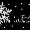 Weihnachtskarte Schneekristal auf schwarzem Papier