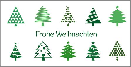 Weihnachtskarte mit Tannenbäumen