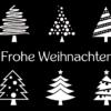 Weihnachtskarte mit weißen Tannen