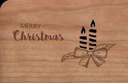 Holz-Weihnachtskarte Kerzen