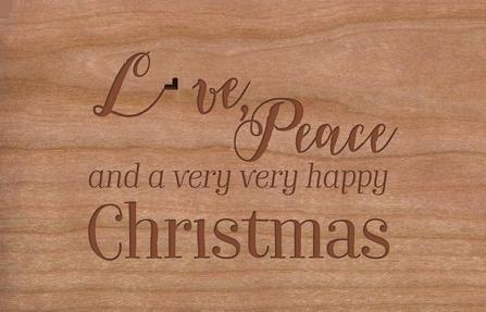Weihnachtskarte aus Holz Love, Peace