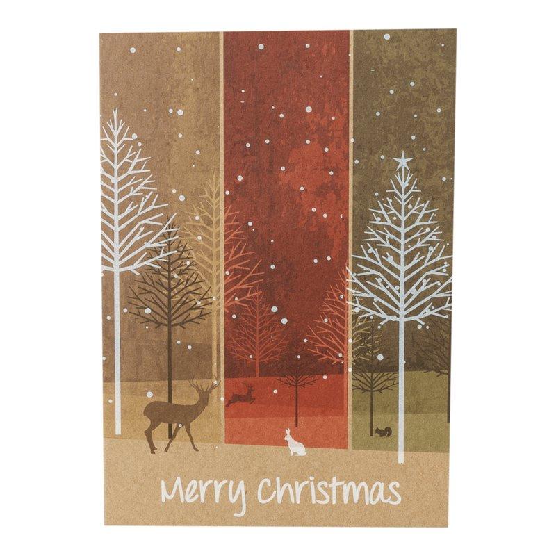 Weihnachtskarte Kraftpapier Weihnachtswald