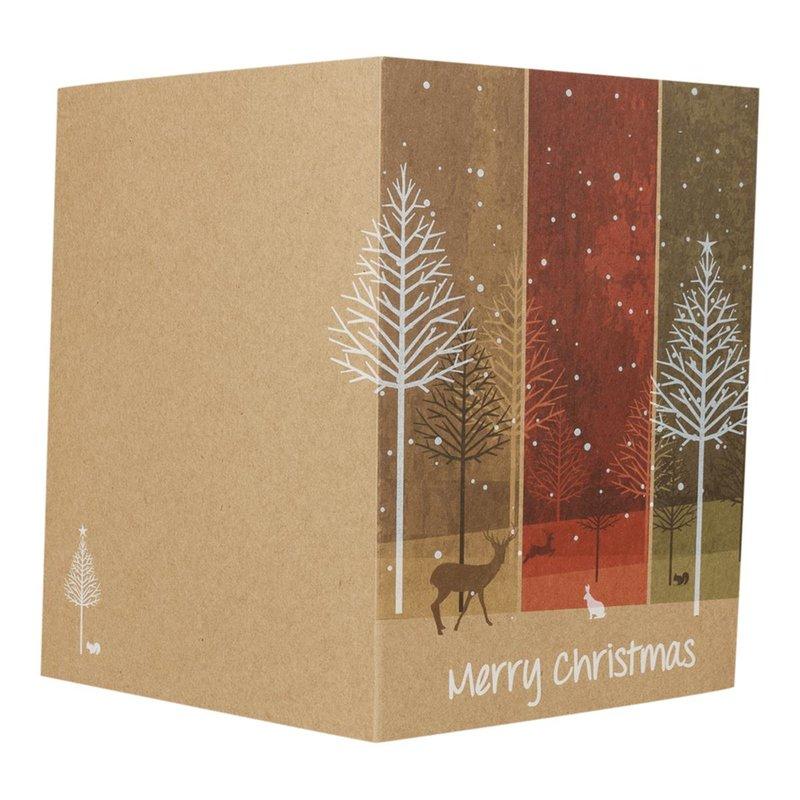 Kraftpapierkarte Weihnachtswald Gesamtansicht