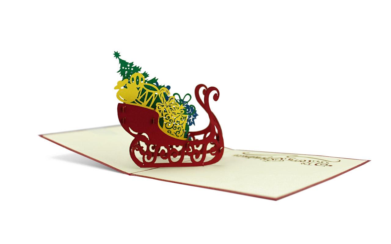 Popup-Karte Geschenkeschlitten