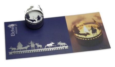 Teelichtkarte mit Elchen