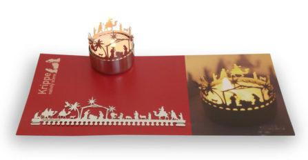 Teelichtkarte Krippe Orient