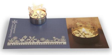 Teelichtkarte Schneeflocken