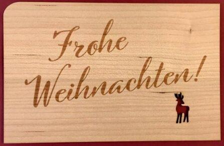Weihnachtskarte aus Holz mit Reh